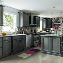 Leyden gray kitchen cabinets in Maple Cobblestone