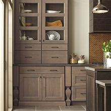 Roslyn Alder Cliff cabinets with a brown-gray tone