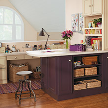 Daladier cabinets in a custom purple color