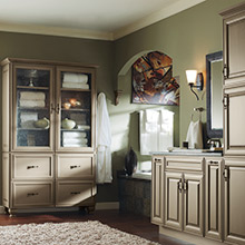 Davenport Maple Angora bathroom cabinets with timeless design elements