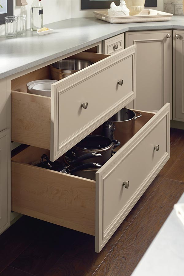 Two drawer base cabinet with both drawers open