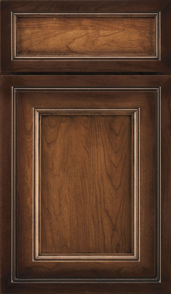 Braydon Manor 5-Piece Cherry Flat Panel Cabinet Door in Amber Luminaire