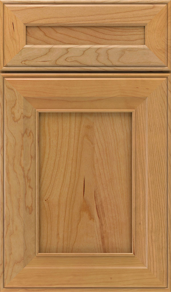 Leyden 5 Piece Cherry Flat Panel Cabinet Door in Natural