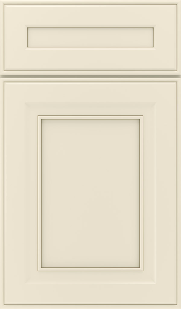 Leyden 5-piece maple flat panel cabinet door in chantille with twilight glaze