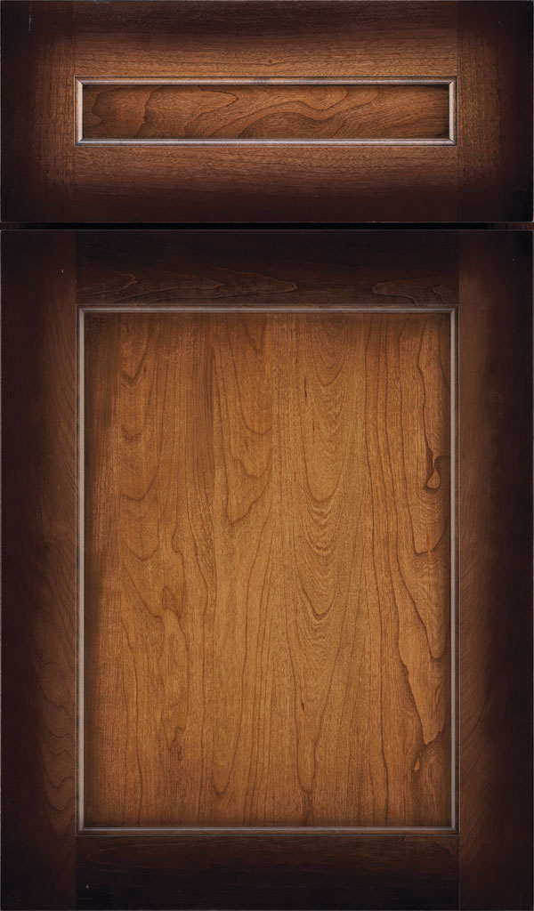 Prescott 5 Piece Cherry Flat Panel Cabinet Door in Amber Luminaire