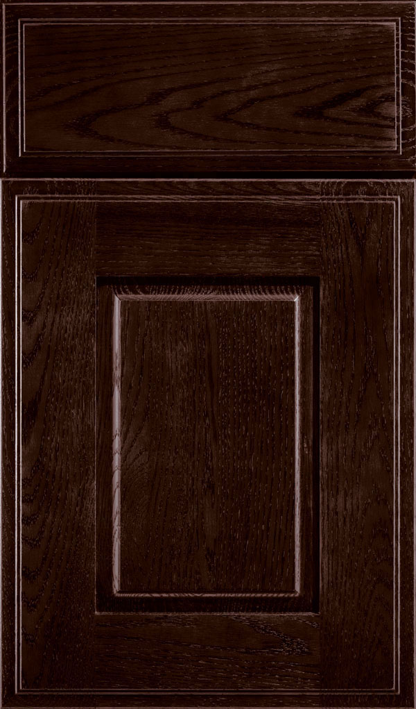Toulan Oak Raised Panel Cabinet Door in Teaberry