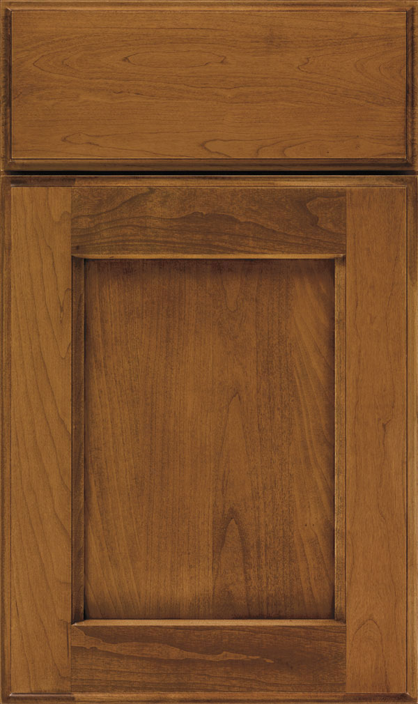 Treyburn Cherry recessed panel cabinet door in Coriander Coffee