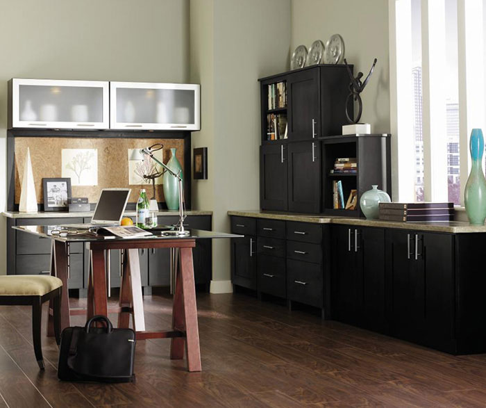 Dark grey office cabinets by Decora Cabinetry