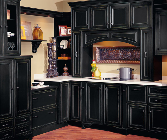 Braydon Manor black kitchen cabinets with Vintage finishing technique