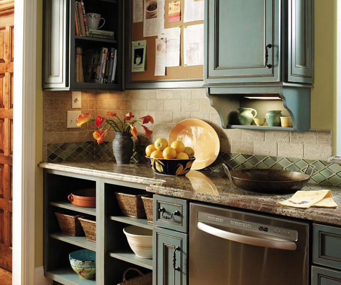 Turquoise kitchen cabinets by Decora Cabinetry