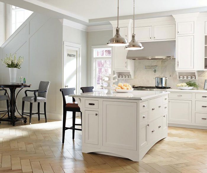 White inset kitchen cabinets by Decora Cabinetry