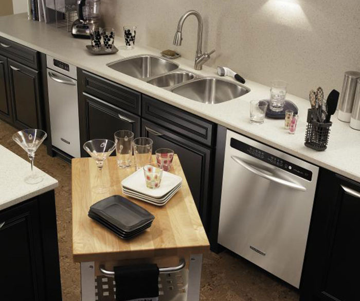 Black kitchen cabinets by Decora Cabinetry