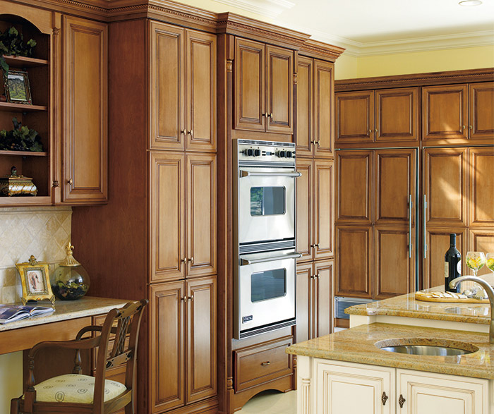 galleria traditional kitchen cabinets in maple chatille and maple coriander with coffee finish